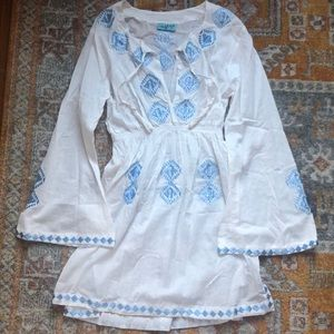 White and blue beach cover up, size small